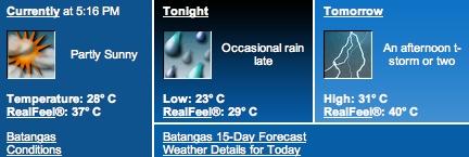 Batangas weather, July 30