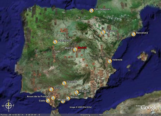 Google Earth Map Of Spain.Spain Map Journey In Feb Mar 2003 From Paris To Madrid