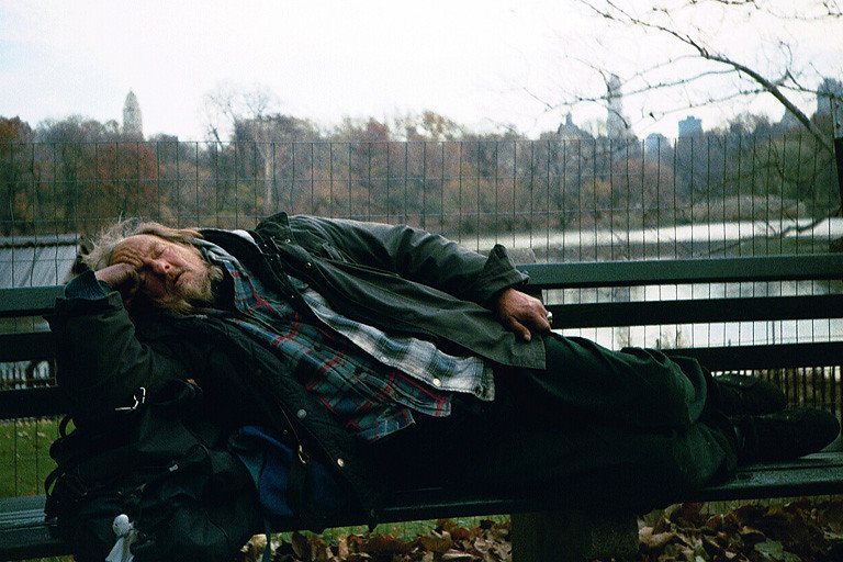 A homeless man in Central Park