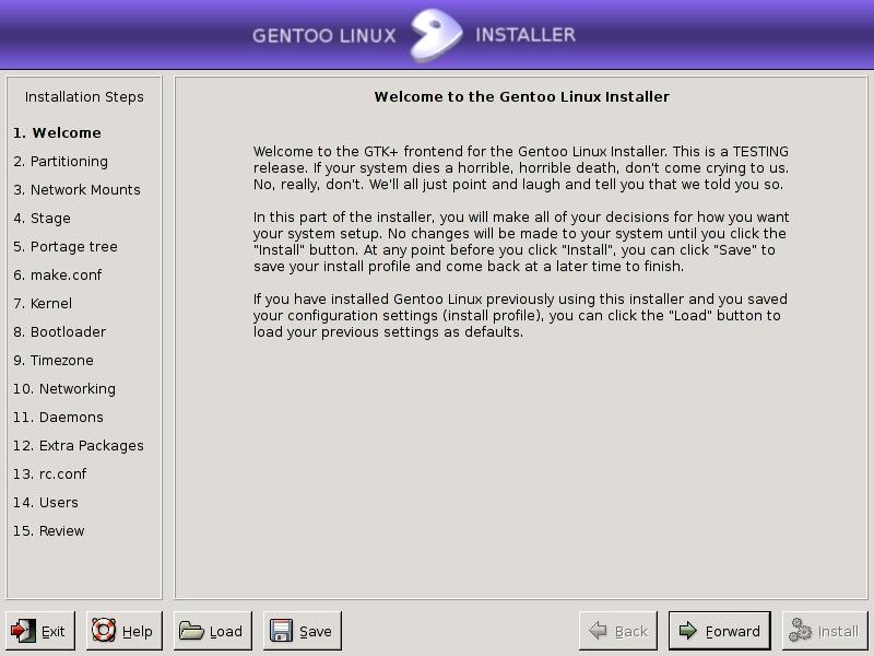 Gentoo GUI Installer