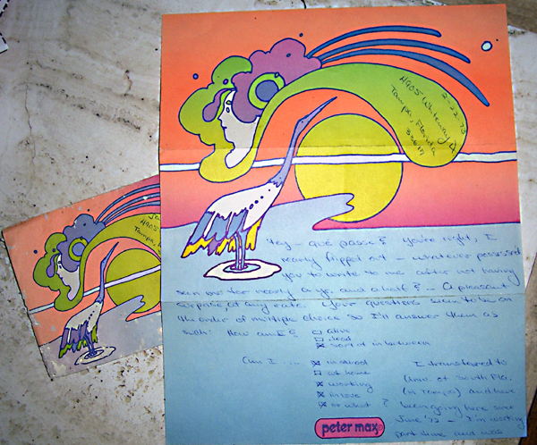 Peter Max Letter