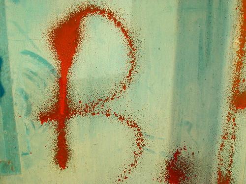 spray-painted 'B'
