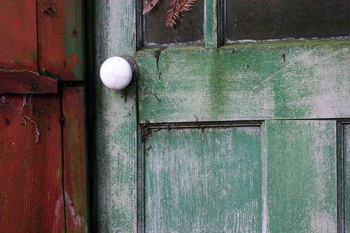 door red green abandoned doorknob weathered shack lagunitas