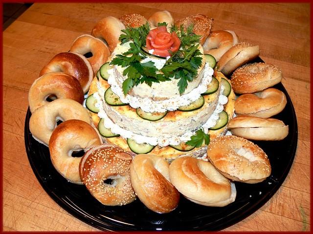 Salmon cheesecake w bagels