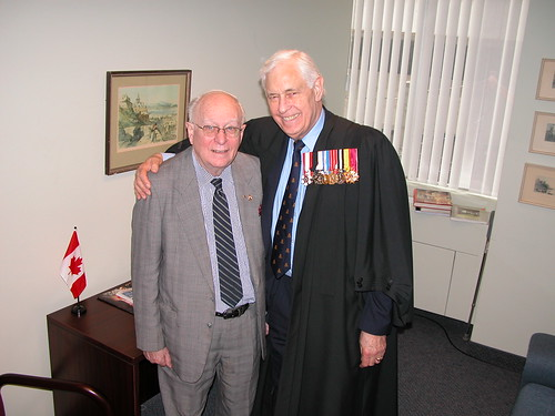 Bro. Paul Tuz and Bro. Bill Burgman in the 2nd. Floor VIP Room prior to a Canadian citizenship ceremony at CIC 55 St Clair Avenue East, Toronto, Ontario