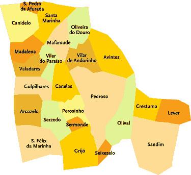 Concelho De Vila Nova De Gaia Portugal Mapa Das Freguesi