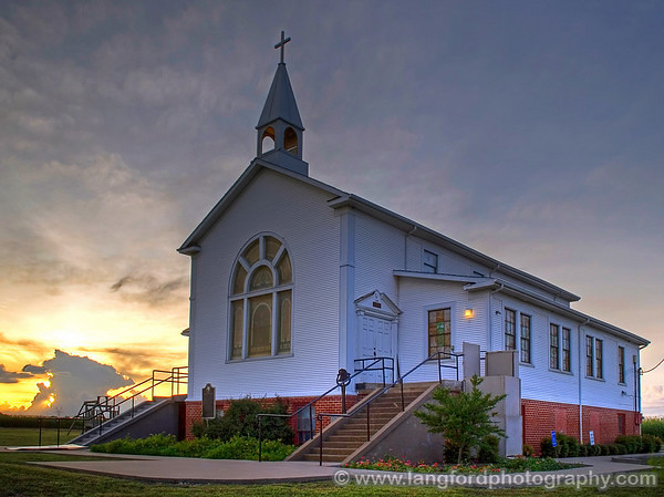 Texas Country Church at Sunset