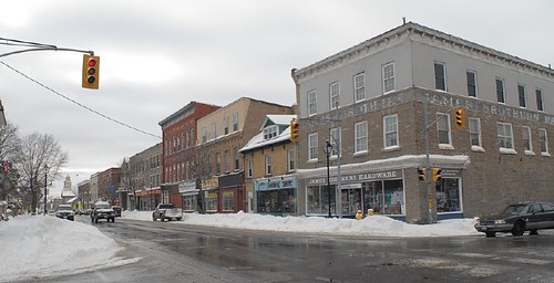 perth ontario winter buildings street intersection panorama lanarkcounty canada