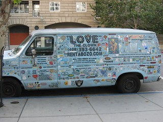 scary clown van outside the san jose library | by Squid!