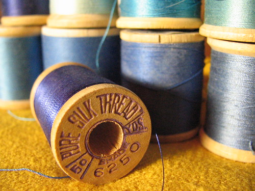 Spools of vintage thread:blues | by litlnemo