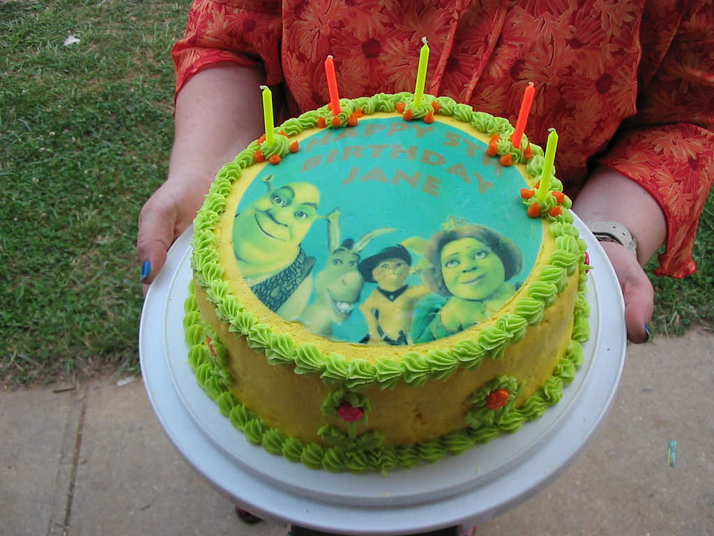Fabulous Janes Shrek Birthday Cake Yellow Cake With Buttercream Ic Flickr Funny Birthday Cards Online Benoljebrpdamsfinfo