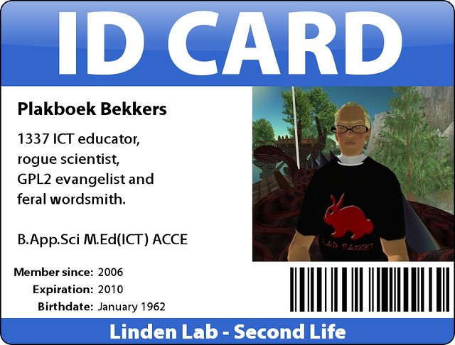 Second Life ID card | A bit of fun that I created with fd's