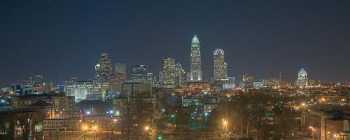 city skyline night landscape cityscape charlotte northcarolina hdr highdynamicrange