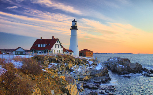 winter lighthouse snow seascape sunrise coast bravo maine explore shore phl atlanticocean portlandheadlight capeelizabeth cascobay blueribbonwinner ramislandledgelight tonemap top20th anawesomeshot diamondclassphotographer flickrdiamond bdp:lighthouse=phl