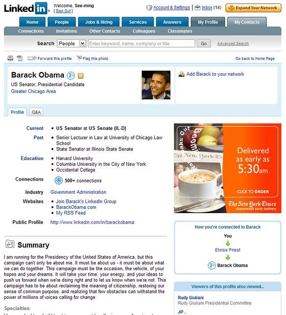 LinkedIn: Barack Obama / 2008-02-25 / SML Screenshots - Flickr