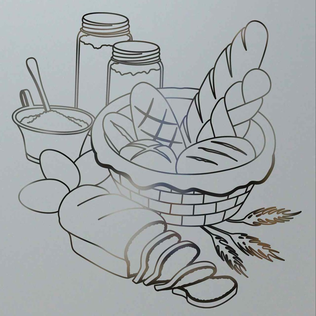 Pantry Doors Glass Bread Basket Design, Solid Etched Frost ...