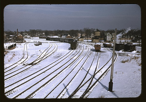 [Train and several sets of railroad tracks in the snow, Massachusetts]  (LOC) | by The Library of Congress