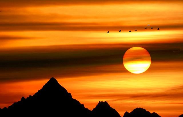 Again Monviso,Sun & birds
