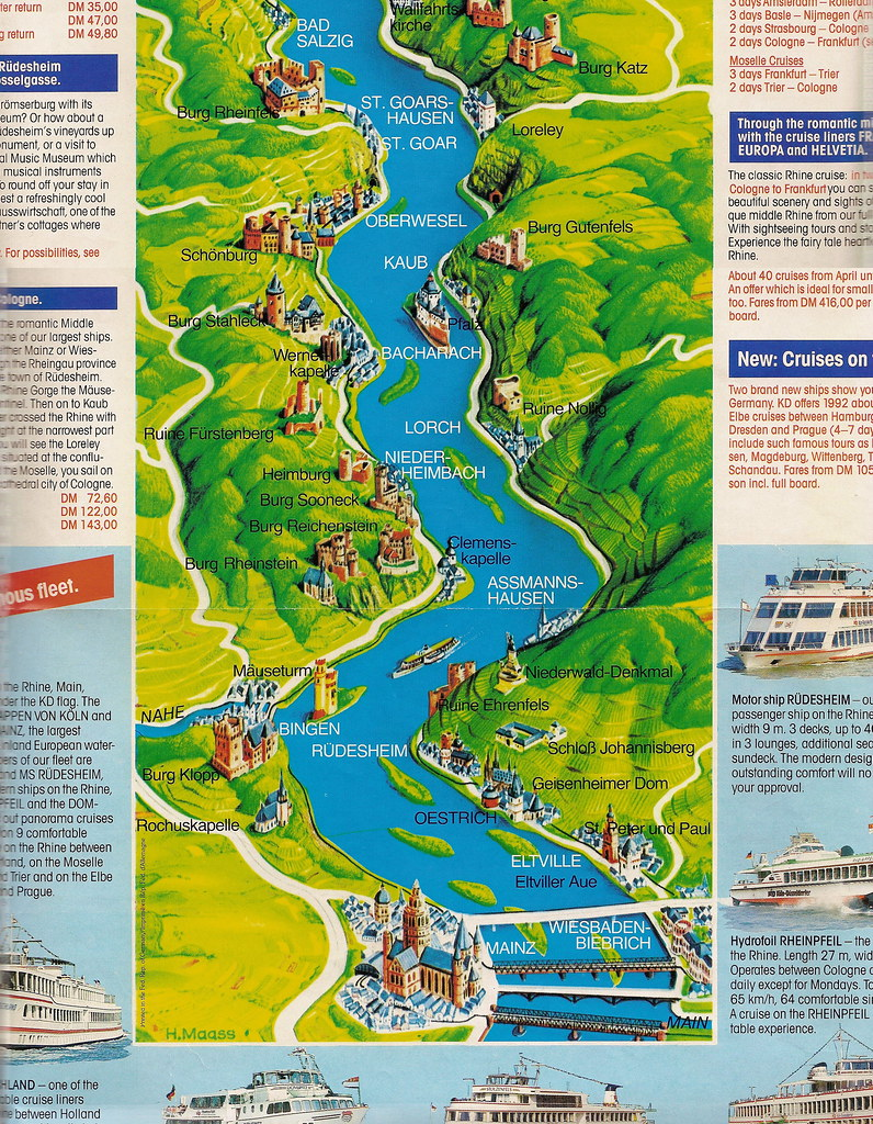 Rhine River Cruise Map The Brochure Included A Map Of