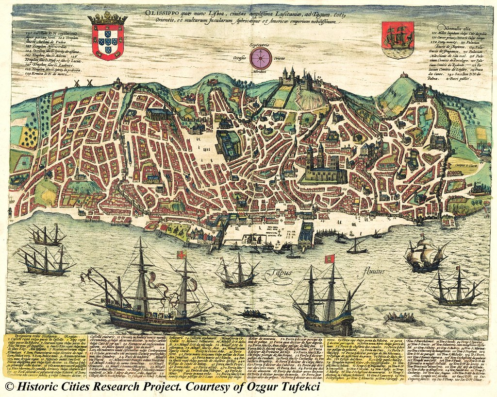 Ancient map Lisbon