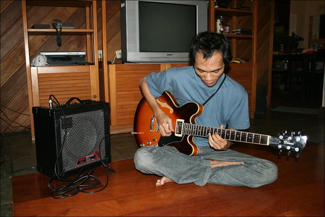 Indra, Electric Guitar, and Amplifier