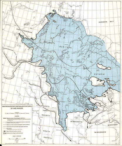 Maximum extent and major features of Lake Agassiz (1983)