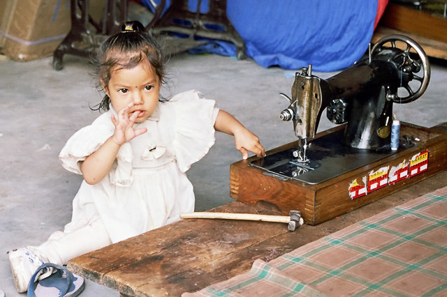 Young seamstress in Manali