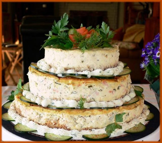 Salmon cheesecake tower