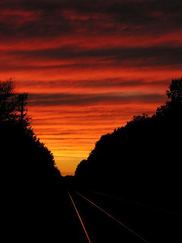 sunset red orange black topf25 yellow clouds soft listeningto nj gratefuldead superfantastique westfield railroadtracks deadset asitwas