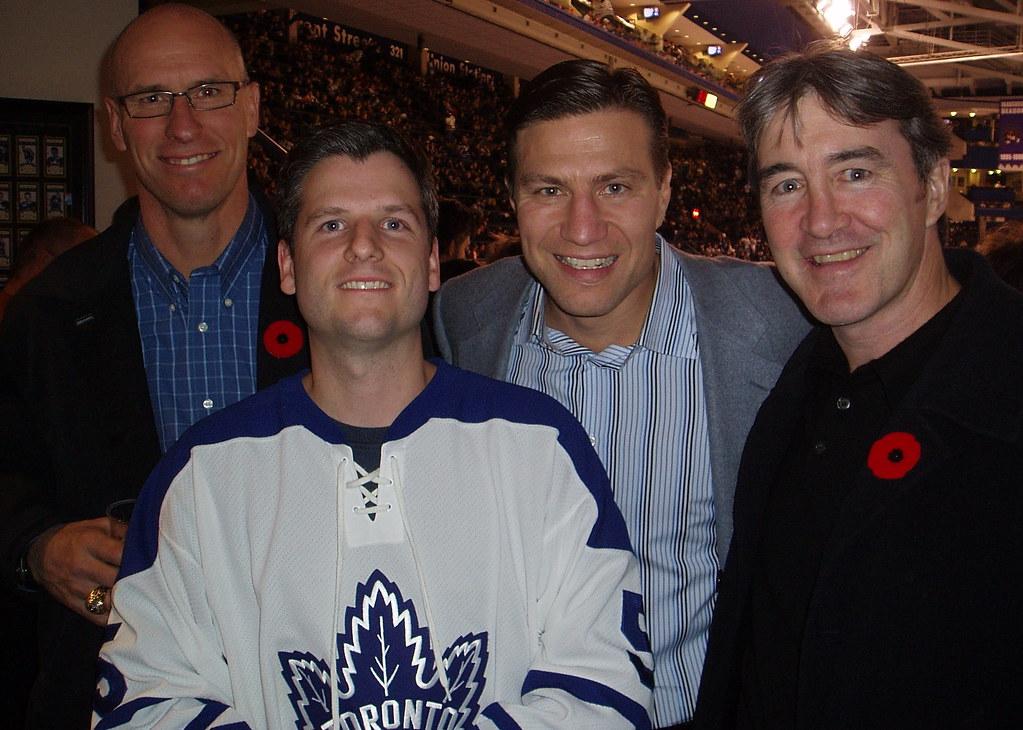 Jim Peplinski, Nick Kypreos, Stew Gavin and me