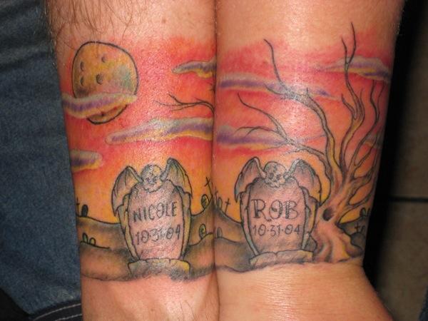 Graveyard Wedding Anniversary Tattoo by Jon Poulson