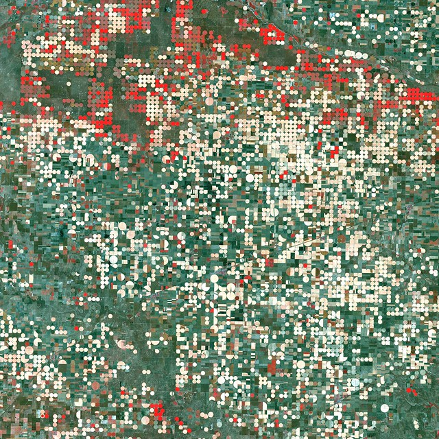 Center pivot irrigation systems create red circles of healthy vegetation in this image of croplands near Garden City, Kansas