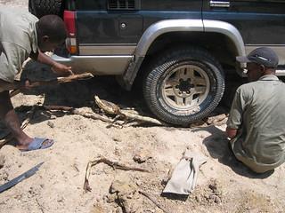 When this didn't work, fallen branches found nearby were lodged under the wheel.