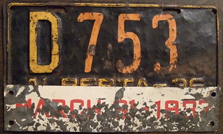 ALBERTA 1936 DEALER plate with March 31-1937 tab