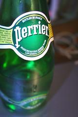 2007/04/28 (土) - 20:37 - I had perrier for the first time today at Champagne. Most sparkling water i've had is too carbonated in vain attempts to compete with regular soda. But i like this stuff.