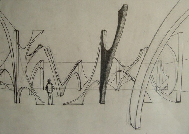 Design development drawings of Raghu spatial installation at the