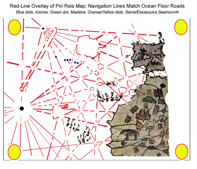 Piri Reis Map, overdrawn with Red Navigation Lines, and Red outlines for