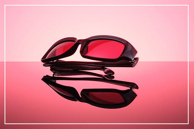 Sunglasses on pink