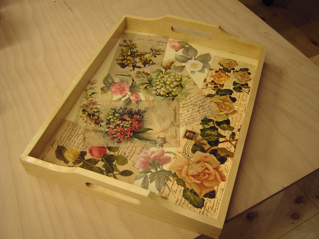 wooden tray with decoupage old postcards