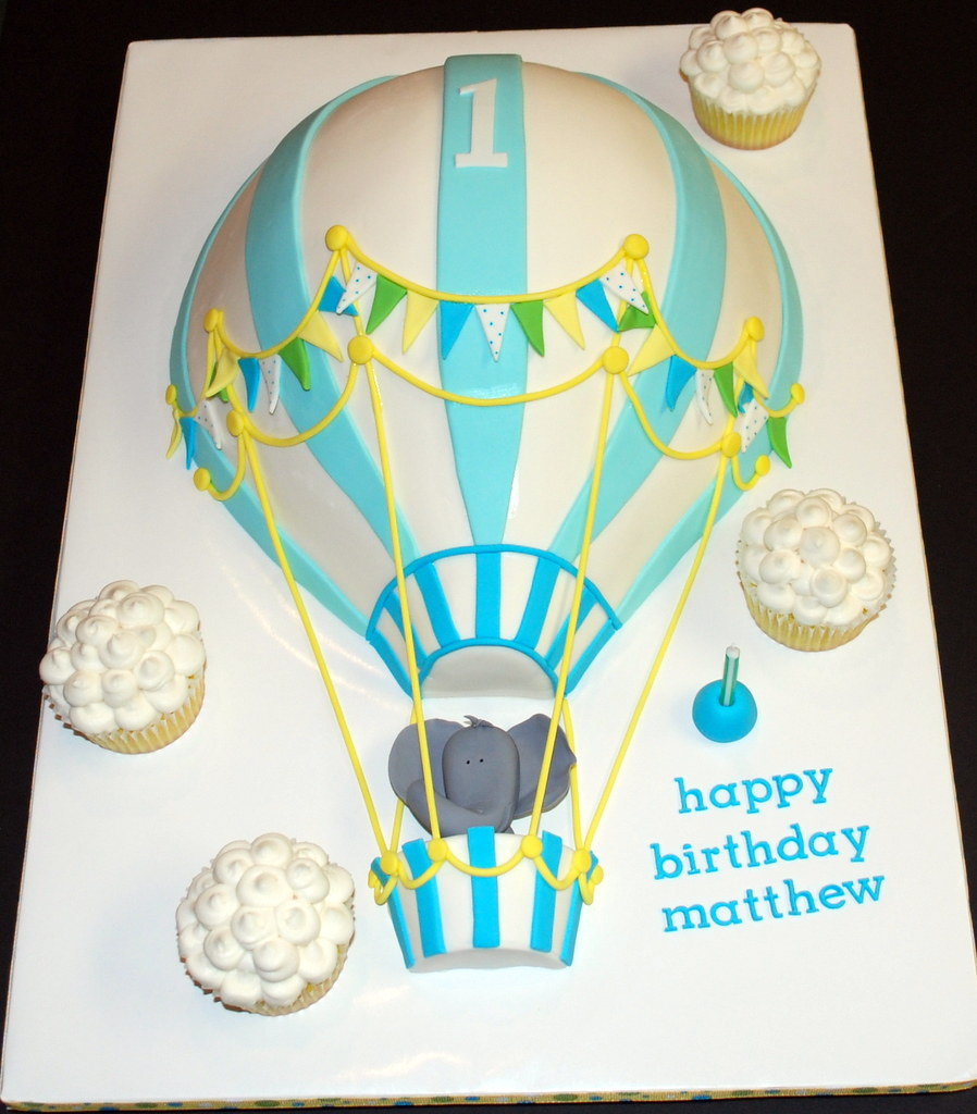 Fine Explored Hot Air Balloon Birthday Cake Just Finished Up T Flickr Funny Birthday Cards Online Elaedamsfinfo