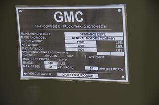 1944 GMC CCKW-353 D - Tank Truck - 2 1/2 Ton 6X6 Data Plat
