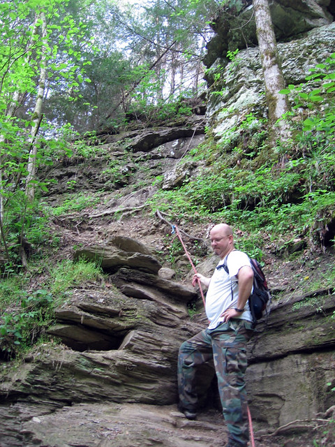 Mike at the climb down, Cummins Falls, Jackson Co, TN