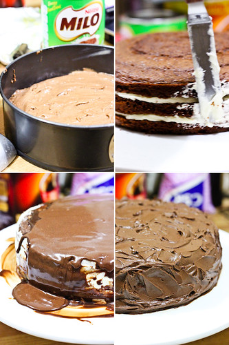 Milo Cake layered with Condensed Milk Icing and Milo Ganache | by raspberri cupcakes