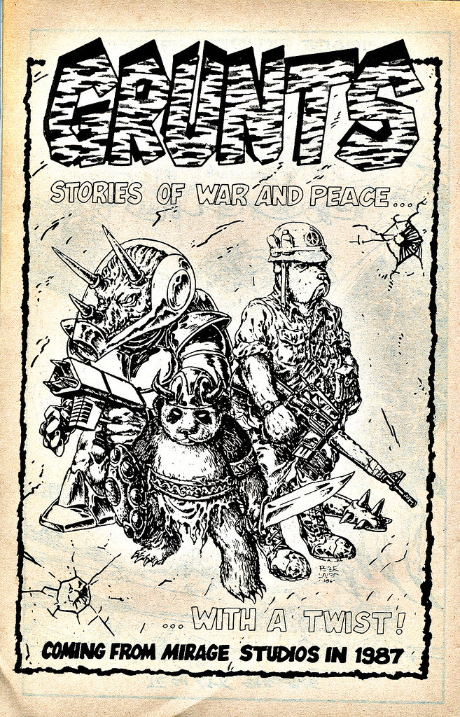 GRUNTS #1 ::  spot ad ..art by Peter Laird  (( 1987 )) by tOkKa