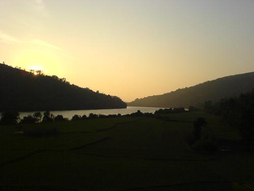sunset river kerala