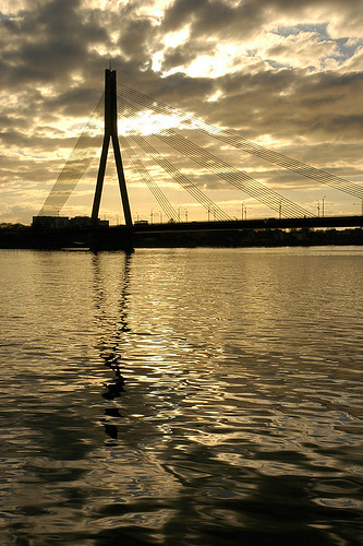 bridge sunset baltic latvia riga 2007 rīga daugava
