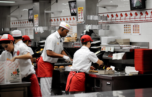 In-N-Out Burger Kitchen | The kitchen staff keep very busy a