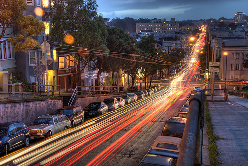 sf sanfrancisco california street city red urban motion blur cars night lights twilight traffic dusk hayes hdr alamosquare lightstream photomatix