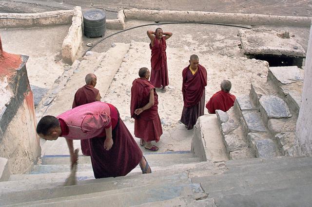 Monks in Diskit Monastery