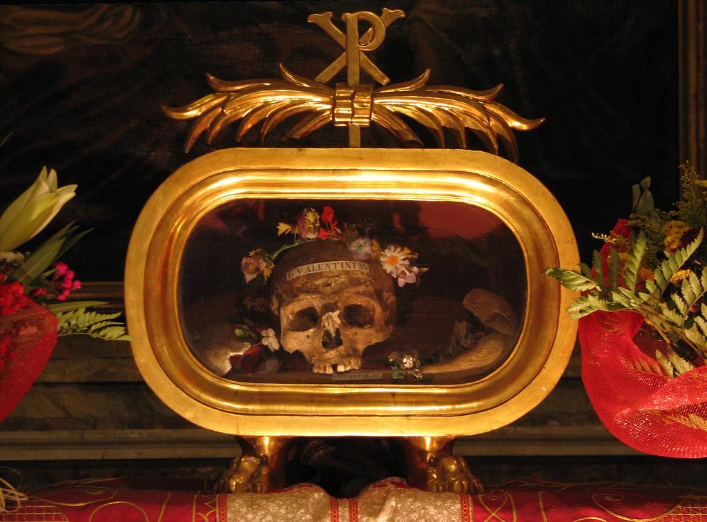 Image result for Saint Valentine of Rome flower-adorned skull of St. Valentine